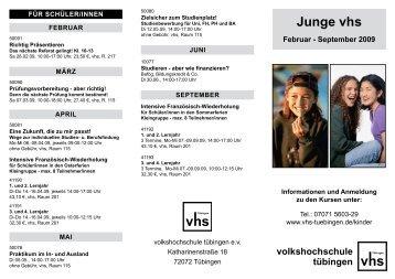 Junge vhs Februar - September 2009 - VHS Tübingen