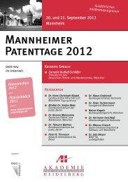 Mannheimer Patenttage 2012 - AH Akademie für Fortbildung ...