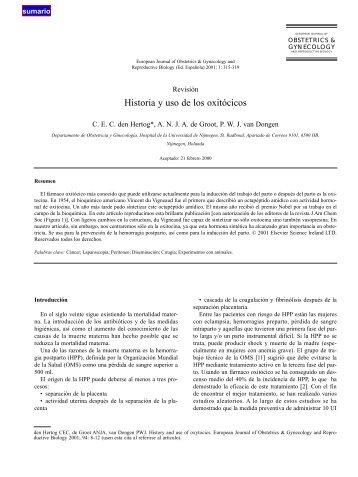 Historia y uso de los oxitócicos - El Médico Interactivo