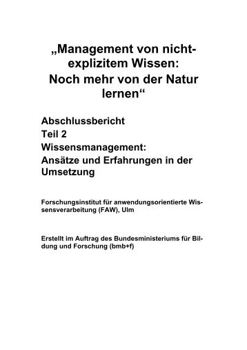 """""""Management von nicht- explizitem Wissen: Noch mehr von ... - FAW/n"""