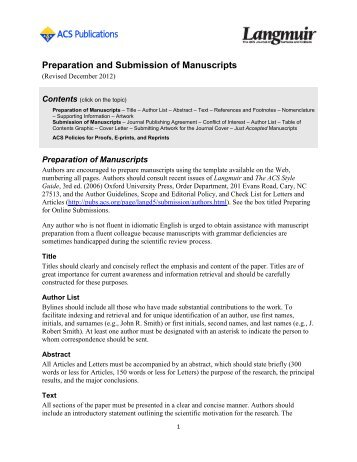 Preparation and Submission of Manuscripts - ACS Publications