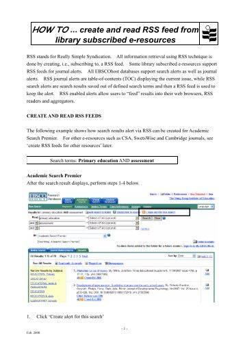 create and read RSS feed from - HKIEd Library Home