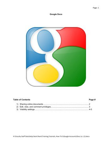1 Google Docs Table of Contents Page # 1) Sharing online documents