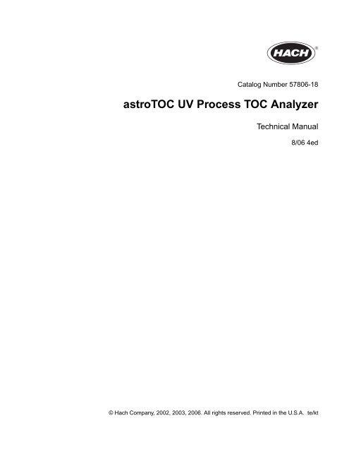 astroTOC UV Process TOC Analyzer - Hach HST