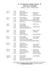 Altar Server Schedule Jan-April 2013 - St. Malachy Catholic Church