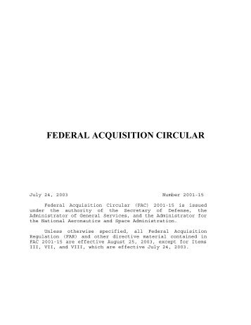 FEDERAL ACQUISITION CIRCULAR - Acquisition Central