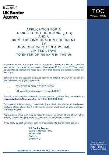 Form TOC - UK Border Agency - Home Office