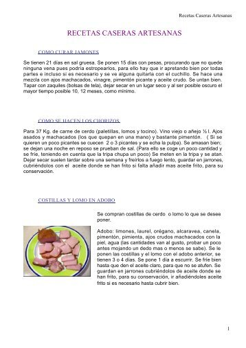RECETAS CASERAS ARTESANAS