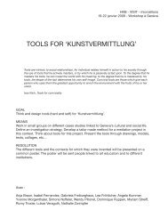 TOOLS FOR 'KUNSTVERMITTLUNG' - microsillons