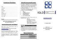 2008 IGLD Workshops
