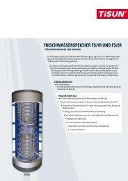 FRISCHWASSERSPEICHER FS/1R und FS/2R - Sonnergie GmbH