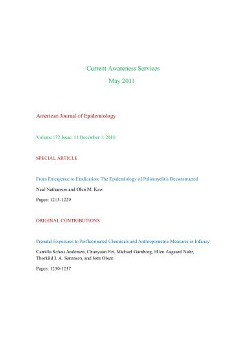 Current Awareness Services May 2011