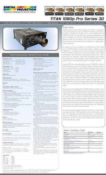 TITAN 1080p Pro Series 3D - Digital Projection