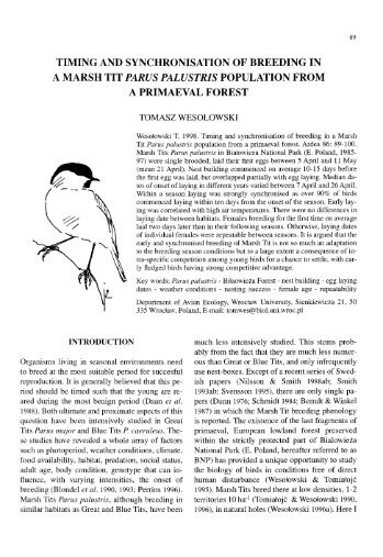 timing and synchronisation of breeding in a marsh tit parus palustris ...