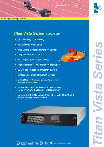 Titan Vista Series True Online UPS