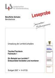 Tischler/Tischlerin Fachstufe 1 Ein Beispiel aus Lernfeld 7 ...
