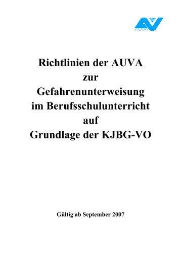 Richtlinien der AUVA zur Gefahrenunterweisung im ... - Tischler