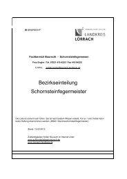 Bezirkseinteilung Schornsteinfegermeister - Landkreis Lörrach
