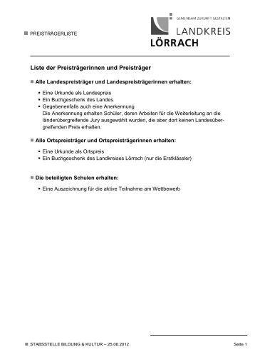 Liste der Preisträgerinnen und Preisträger des ... - Landkreis Lörrach
