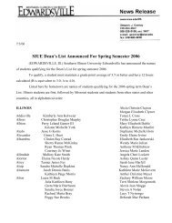 SIUE Dean's List Announced For Spring Semester 2006 - Southern ...