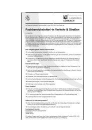 Fachbereichsleiter/-in Verkehr & Straßen - Landkreis Lörrach