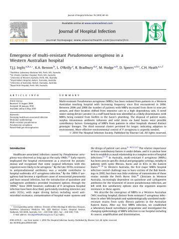 Emergence of multi-resistant Pseudomonas aeruginosa in a ... - CCIH