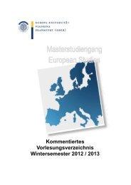 Kommentiertes Vorlesungsverzeichnis Wintersemester 2012 / 2013