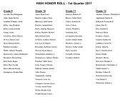 HIGH HONOR ROLL - 1st Quarter 2011
