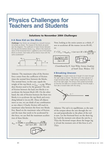 Physics Challenges for Teachers and Students - Scitation