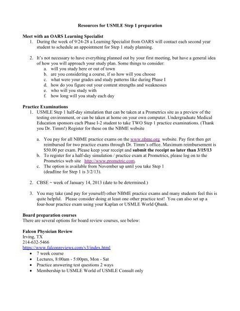 USMLE Step 1 Information - SOM Home
