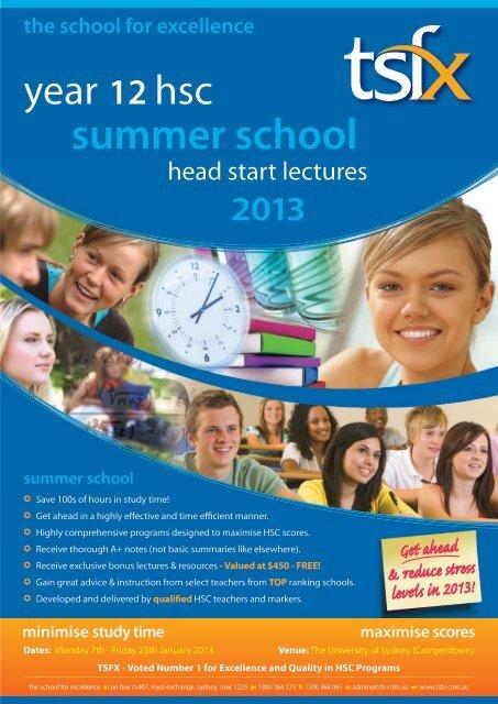 summer school hsc head start lectures 2013 - TSFX