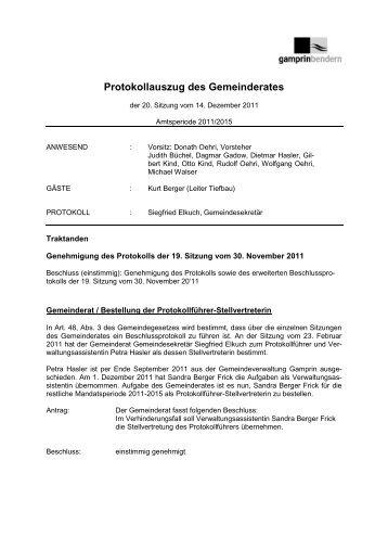 Gemeinderatssitzung vom 14.12.2011 - Gemeinde Gamprin