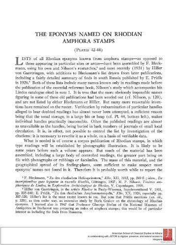 the eponyms named on rhodian amphora stamps - The American ...