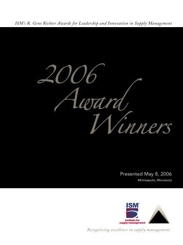 2006 Richter Award Winners - Institute for Supply Management