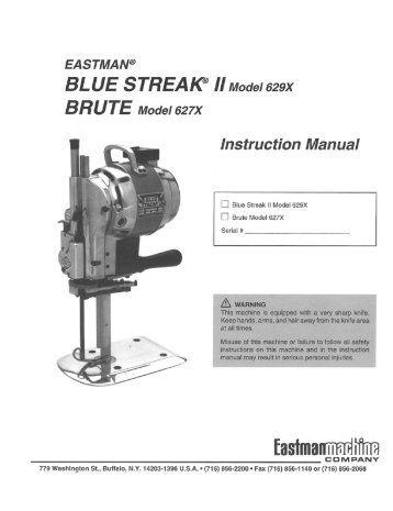 Instruction manual for Blue Streak & Brute 629 - Superior Sewing ...