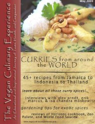 Table Of Contents - Vegan Culinary Experience