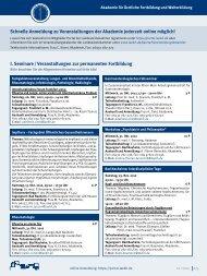 I. Seminare / Veranstaltungen zur permanenten Fortbildung ...