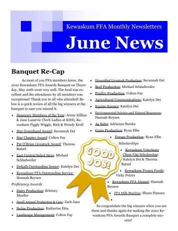 June 2011 Newsletter - Kewaskum School District
