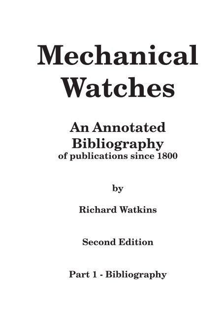 An Annotated Bibliography Horology The Index