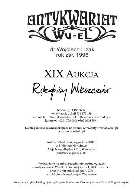 Xix Aukcja Antykwariat Wu El