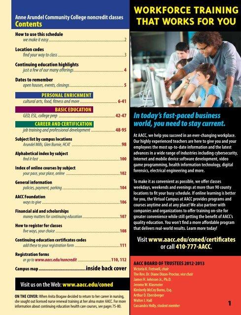 Fall Schedule PDF - Anne Arundel Community College