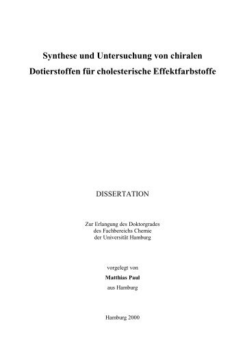 Synthese und Untersuchung von chiralen Dotierstoffen - Chemie ...