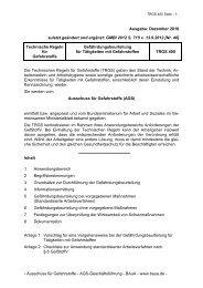 TRGS 400 Gefährdungsbeurteilung für Tätigkeiten mit Gefahrstoffen