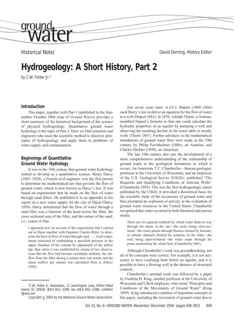 Hydrogeology: A Short History, Part 2 - National Ground Water ...