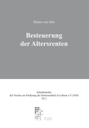 Dieter von Alm: Besteuerung der Altersrenten