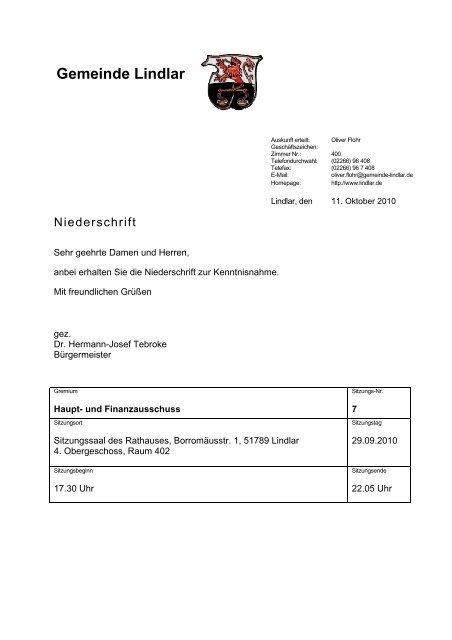 III. Projekte - Gemeinde Lindlar