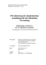 Privatisierung der akademischen Ausbildung für die ... - HWR Berlin
