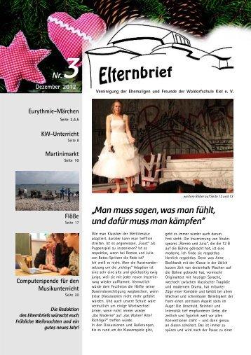 Der aktuelle Elternbrief, Weihnachten 2012 - Freie Waldorfschule Kiel