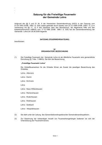 Satzung für die Freiwillige Feuerwehr - Lohra