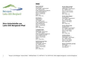 Gastgeberverzeichnis für den Lahn-Dill-Bergland-Pfad - Lohra